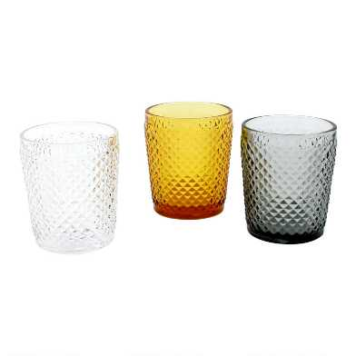 Diamond Pressed Glass Double Old Fashioned Glasses Set of 3