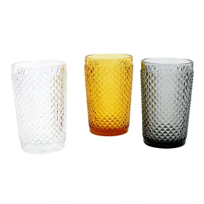 Diamond Pressed Glass Highball Glasses Set of 6