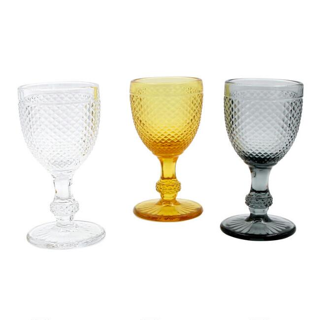Diamond Pressed Glass Wine Glasses Set of 3