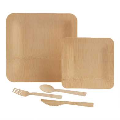 Square Natural Bamboo Dinnerware Collection