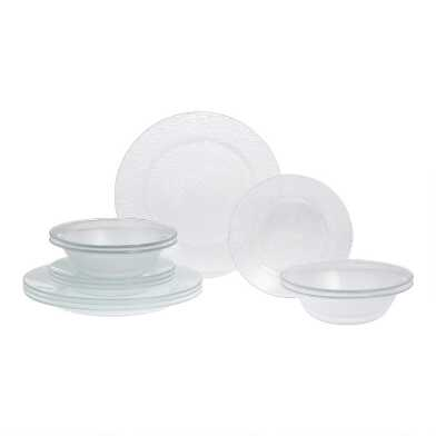 Textured Glass 12 Piece Dinnerware Set