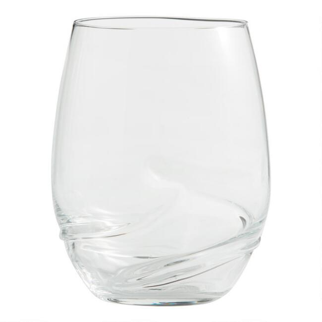 Crystal Swirl Stemless Wine Glasses Set of 6