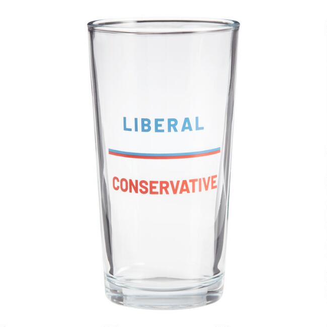 Liberal Conservative Pint Glasses Set of 6