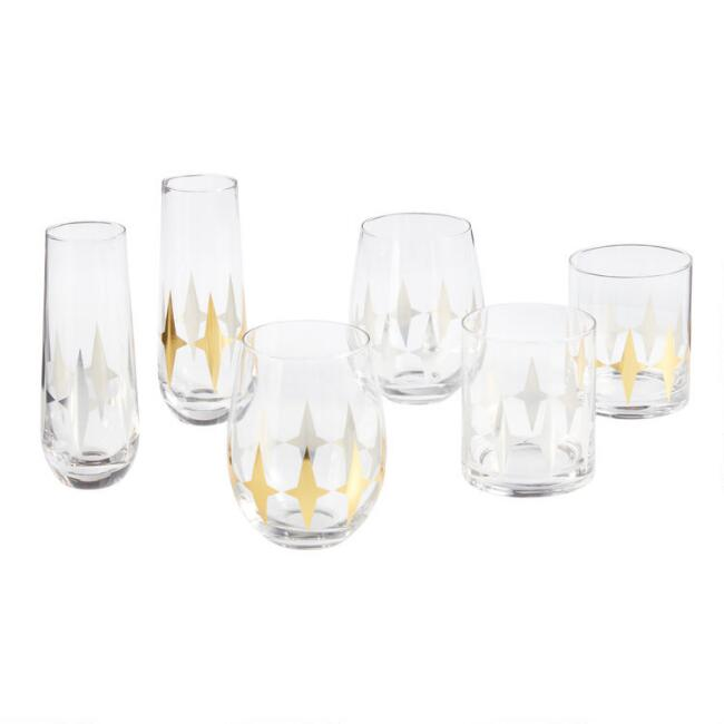Metallic Art Deco Glassware Collection