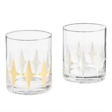 Metallic Art Deco Double Old Fashioned Glasses Set of 4