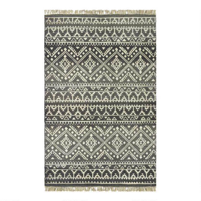 Gray and White Geometric Jute Blend Piper Area Rug