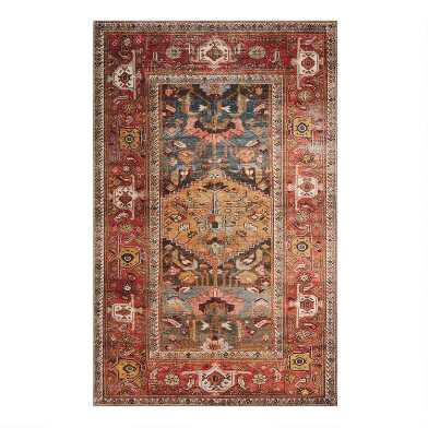 Rust and Gold Distressed Persian Style Hazel Area Rug