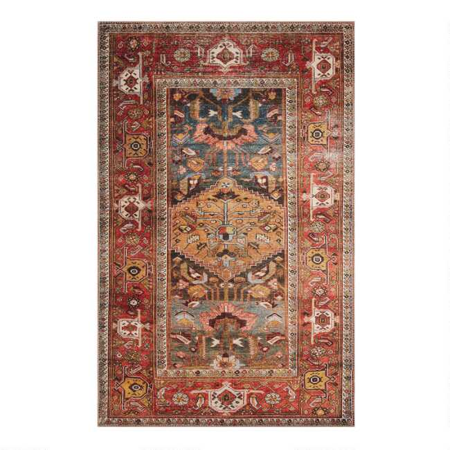 Rust And Gold Distressed Persian Style Hazel Area Rug World Market