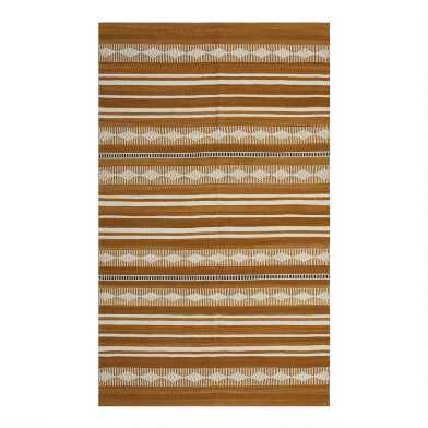 Amber Geometric Stripe Wool Kilim Easton Area Rug