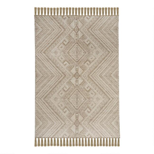 Natural Geometric Jute and Chenille Woven Luca Area Rug