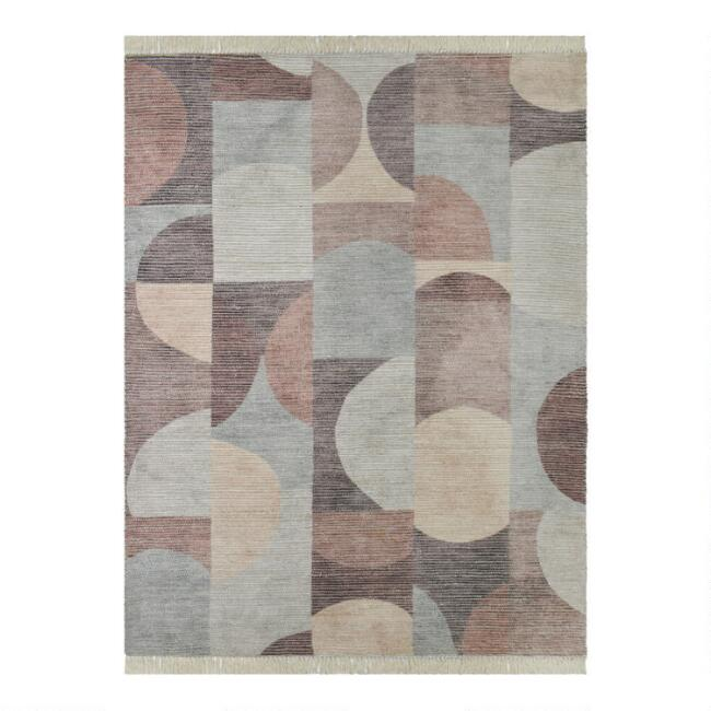 Multicolor Abstract Circles Jute and Cotton Kit Area Rug