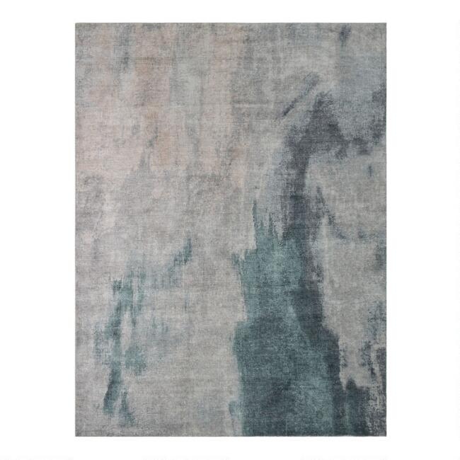 Teal and Gray Abstract Nova Area Rug