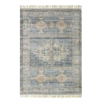 Blue Distressed Persian Style Jute Emma Area Rug