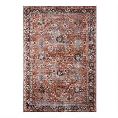 Rust Distressed Persian Style Savannah Area Rug