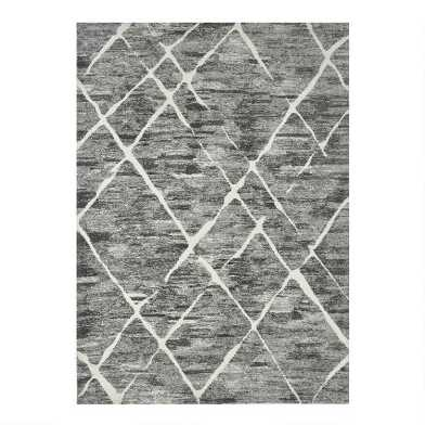 Gray and White Abstract Diamond Edison Area Rug