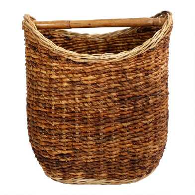 Banana Leaf Hazel Basket With Handle