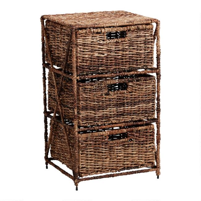Dark Brown Abaca 3 Drawer Madras Storage Tower
