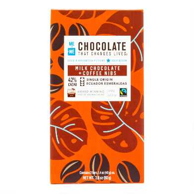 Me To We Coffee Nibs Milk Chocolate Bar Set of 4