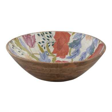 Large Floral Canterbury Enamel Wood Bowl