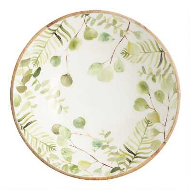 Large Green Eucalyptus Enamel Wood Bowl