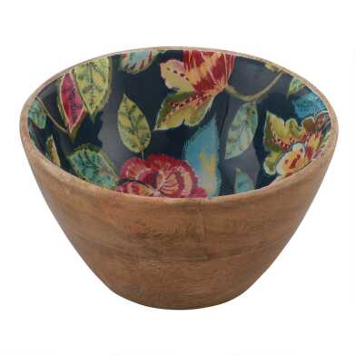 Small Navy Multicolor Floral Amal Enamel Wood Bowl