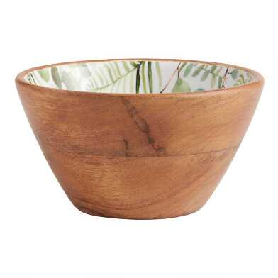 Small Green Eucalyptus Enamel Wood Bowl