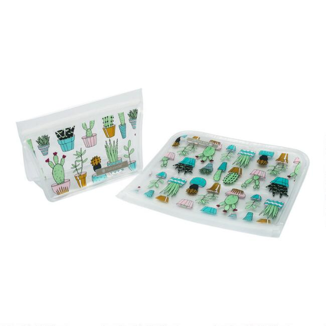 Full Circle Cactus Party Ziptuck Reusable Lunch Bags 2 Pack