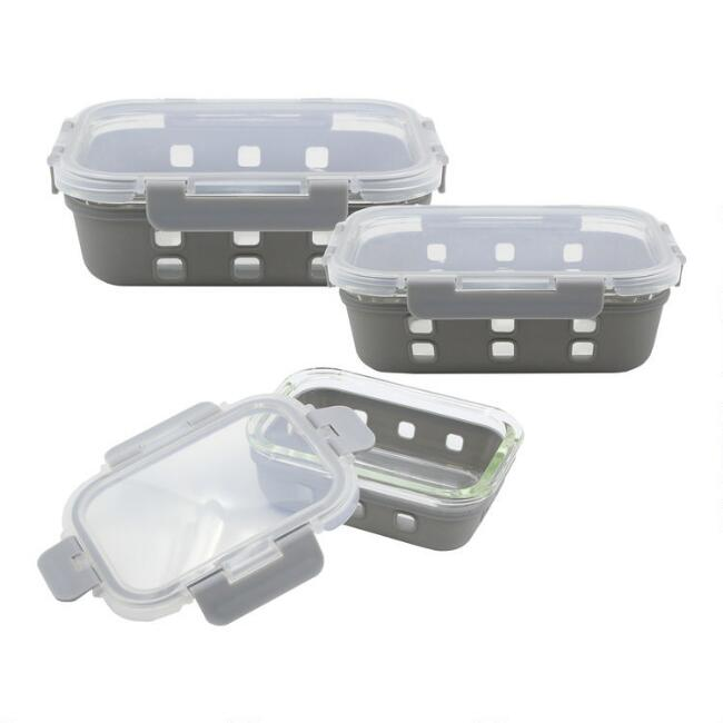 Gray Silicone and Glass Storage Container with Lid
