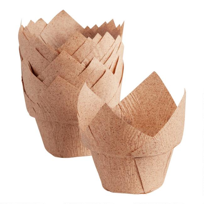 18 Pack Cocoa Paper High Crown Tulip Baking Cups Set of 2