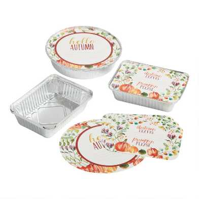 4 Pack Autumn Bake Away Pans with Lids Set of 2