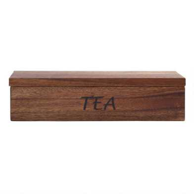 Acacia Wood Tea Storage Box