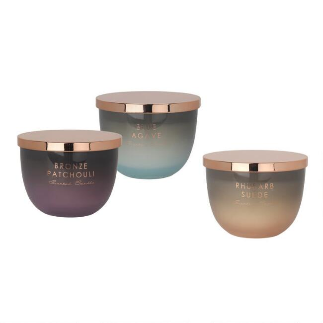 Ombre Glass Filled Jar Candle With Copper Lid