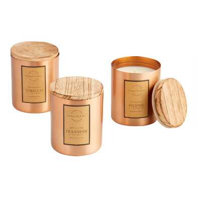 Copper and Wood Filled Jar Candle