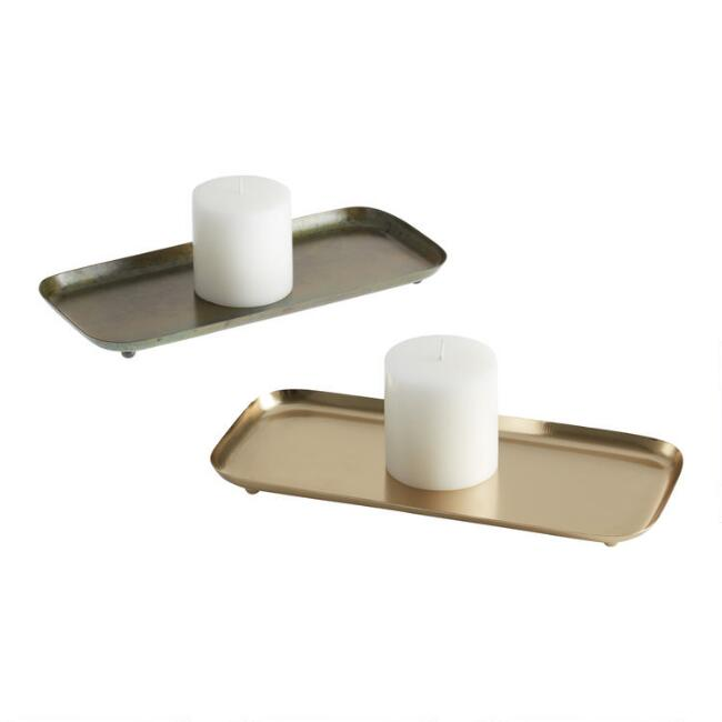 Reactive Metal Candle Plates Set of 2