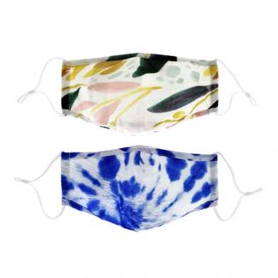 Blue Tie Dye and Leaf Triple Layer Cotton Face Masks 2 Pack