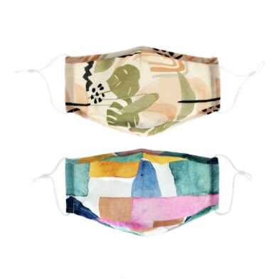 Green Leaf Abstract Triple Layer Cotton Face Masks 2 Pack