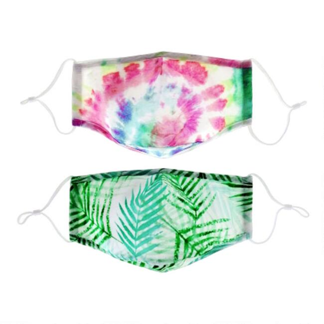 Tie Dye and Watercolor Triple Layer Cotton Face Masks 2 Pack