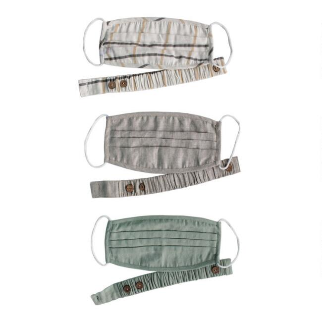 Solid and Plaid Double Layer Linen Face Masks Set of 3