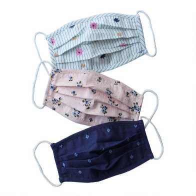 Embroidered Dobby Double Layer Cotton Face Masks Set of 3