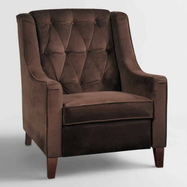 Chocolate Victoria Velvet Tufted High-Back Chair