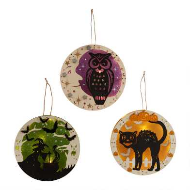 Round Vintage Halloween LED Light Up Hanging Decor Set of 3