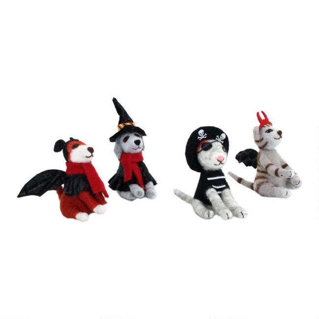 Felted Wool Halloween Dogs and Cats Set of 4