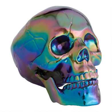 Iridescent Oil Slick Skull
