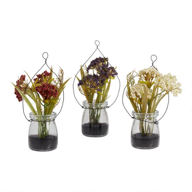 Faux Queen Anne's Lace in Hanging Glass Jars Set of 3
