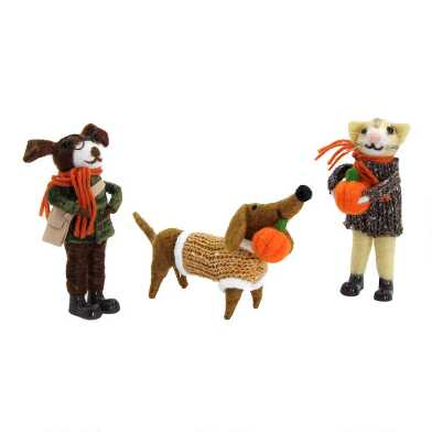 Felted Wool Fall Pets Set of 3
