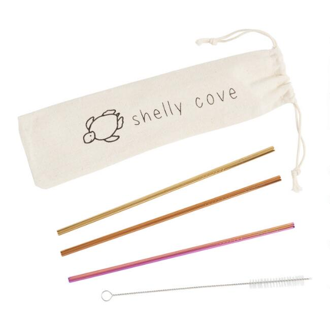 Shelly Cove Stainless Steel Straw Set