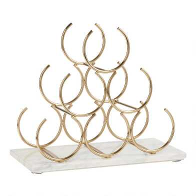 Marble and Gold 6 Bottle Wine Rack
