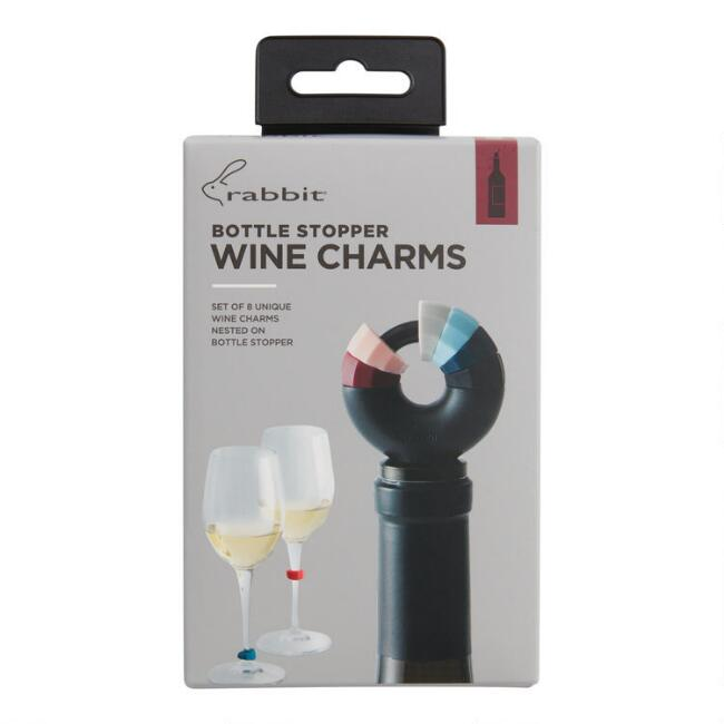 Rabbit Wine Bottle Stopper with Wine Charms