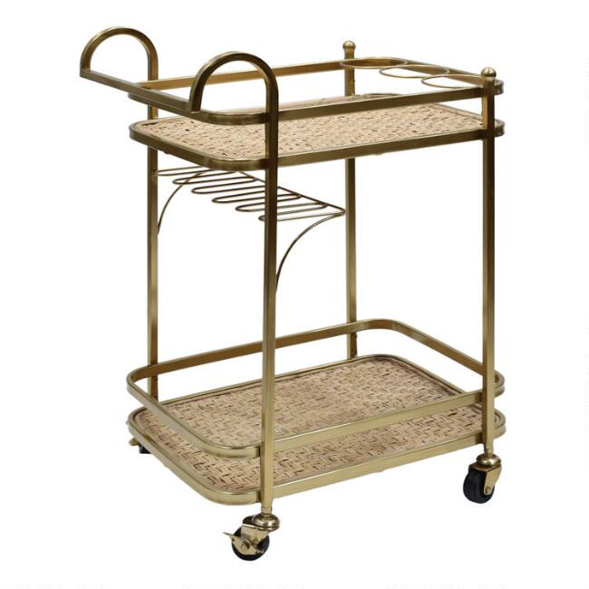 Gold and Natural Fiber 2 Tier Bar Cart