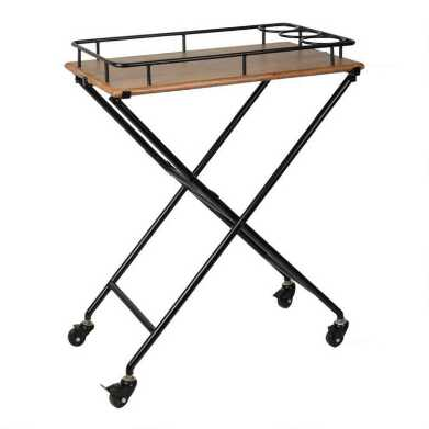 Metal and Wood Butler Tray with Rolling Stand